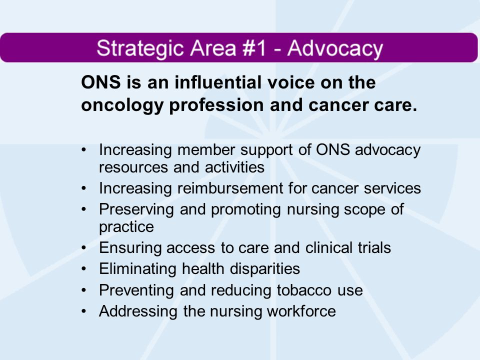 ONS is an influential voice on the oncology profession and cancer care.