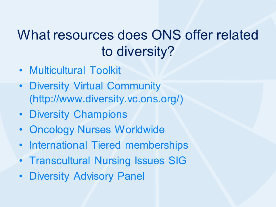 What resources does ONS offer related to diversity.