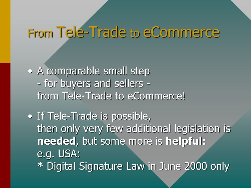 From Tele-Trade to eCommerce A comparable small step - for buyers and sellers - from Tele-Trade to eCommerce!A comparable small step - for buyers and sellers - from Tele-Trade to eCommerce.