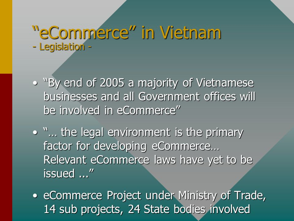eCommerce in Vietnam - Legislation - By end of 2005 a majority of Vietnamese businesses and all Government offices will be involved in eCommerce By end of 2005 a majority of Vietnamese businesses and all Government offices will be involved in eCommerce … the legal environment is the primary factor for developing eCommerce… Relevant eCommerce laws have yet to be issued... … the legal environment is the primary factor for developing eCommerce… Relevant eCommerce laws have yet to be issued... eCommerce Project under Ministry of Trade, 14 sub projects, 24 State bodies involvedeCommerce Project under Ministry of Trade, 14 sub projects, 24 State bodies involved