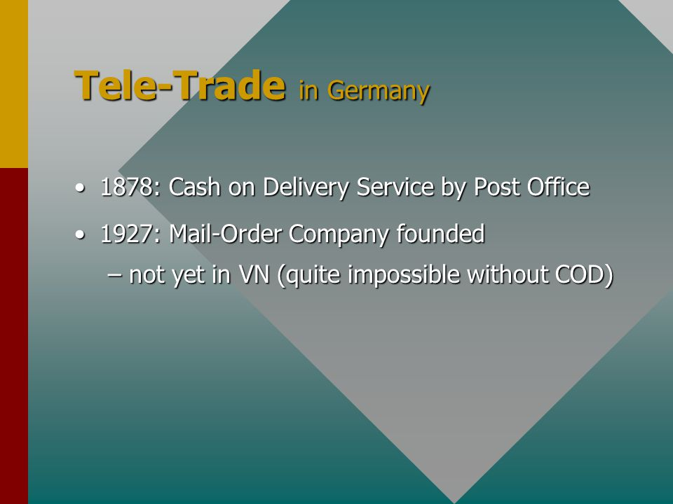 Tele-Trade in Germany 1878: Cash on Delivery Service by Post Office1878: Cash on Delivery Service by Post Office 1927: Mail-Order Company founded1927: Mail-Order Company founded 1928: First printed catalogue1928: First printed catalogue –in VN since about mid '90s –still very rare and unusual –often very incomplete