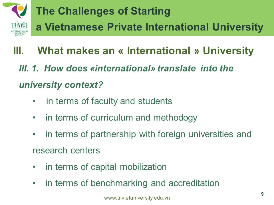 III. What makes an « International » University III.