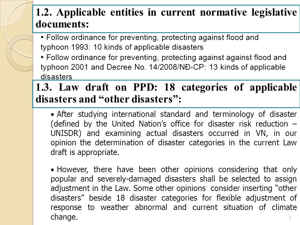 7 1.2. Applicable entities in current normative legislative documents: Follow ordinance for preventing, protecting against flood and typhoon 1993: 10