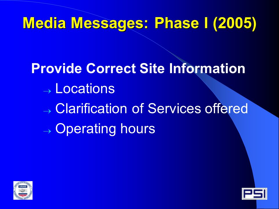 Provide Correct Site Information  Locations  Clarification of Services offered  Operating hours Media Messages: Phase I (2005)