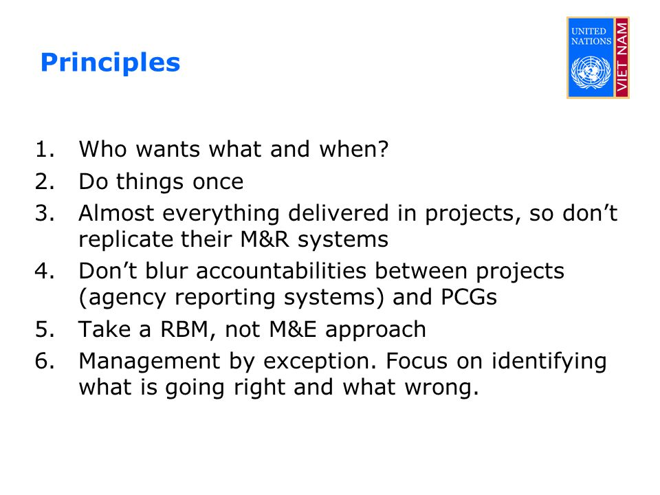 Principles 1.Who wants what and when? 2.Do things once 3.Almost everything delivered in projects, so don't replicate their M&R systems 4.Don't blur ac