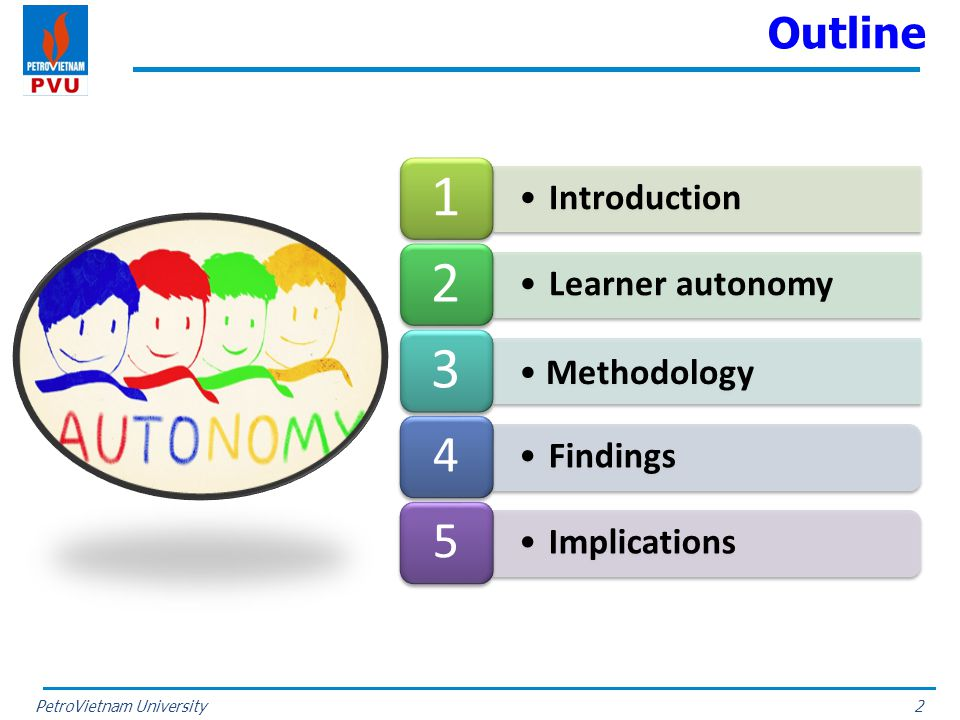 PetroVietnam University Outline 2 Introduction 1 Learner autonomy 2 Methodology 3 Findings 4 Implications 5