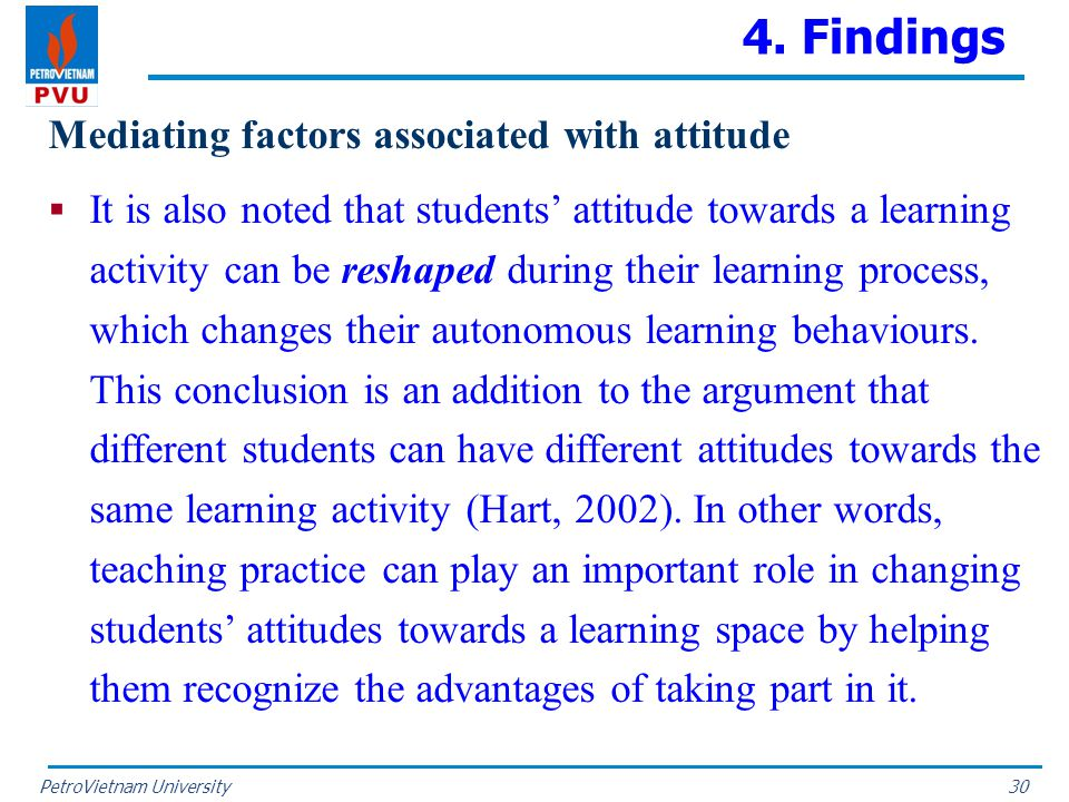PetroVietnam University 4. Findings Mediating factors associated with attitude  It is also noted that students' attitude towards a learning activity