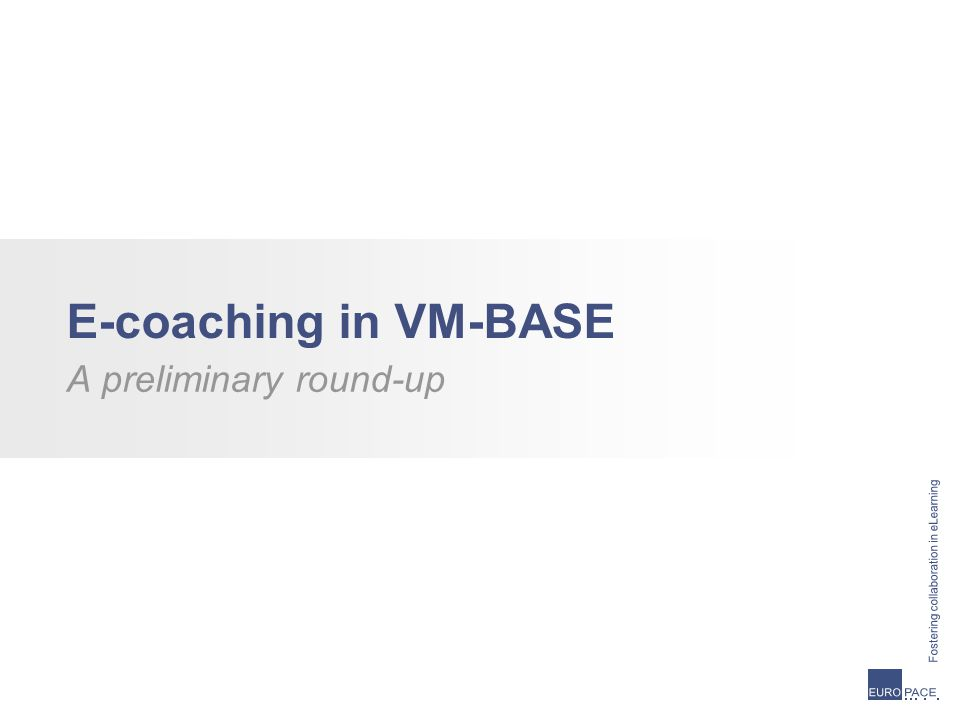 E-coaching in VM-BASE A preliminary round-up