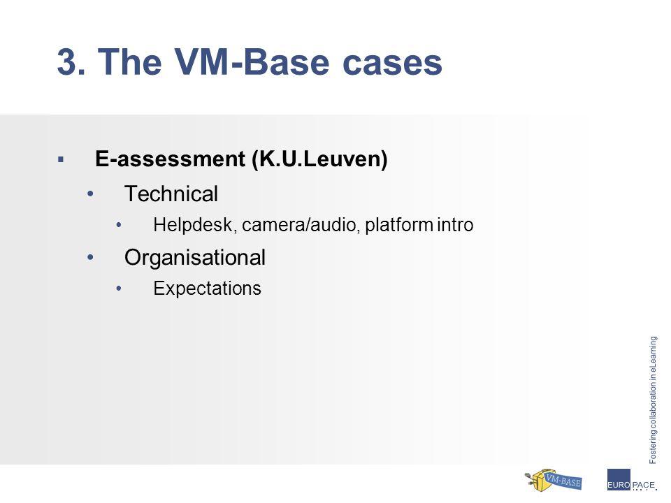  E-assessment (K.U.Leuven) Technical Helpdesk, camera/audio, platform intro Organisational Expectations 3.