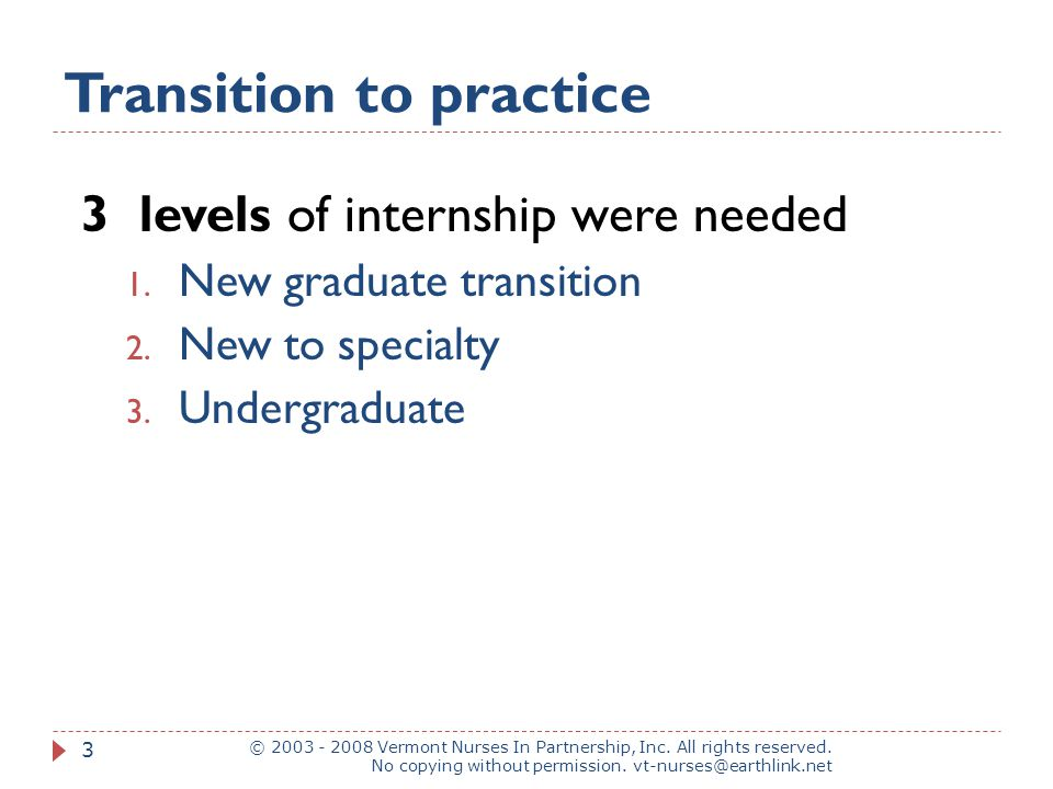 Transition to practice © 2003 - 2008 Vermont Nurses In Partnership, Inc.