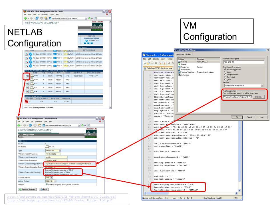 NETLAB Configuration VM Configuration http://netdevgroup.com/doc/NETLAB_VMware_Remote_PC_Guide.pdf http://netdevgroup.com/ae/doc/NETLAB_Cuatro_Router_Pod.pdf