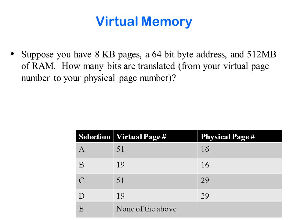 Virtual Memory Key Points How does virtual memory provide: –protection.