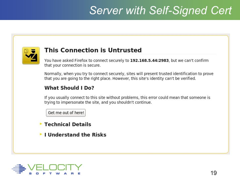 19 Server with Self-Signed Cert