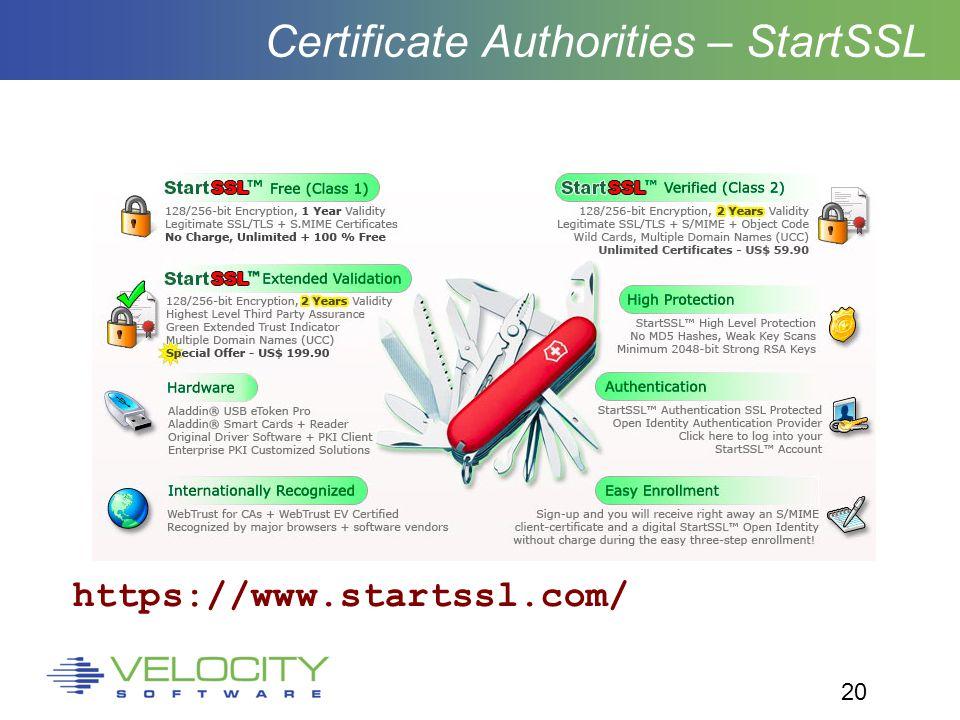 20 Certificate Authorities – StartSSL https://www.startssl.com/