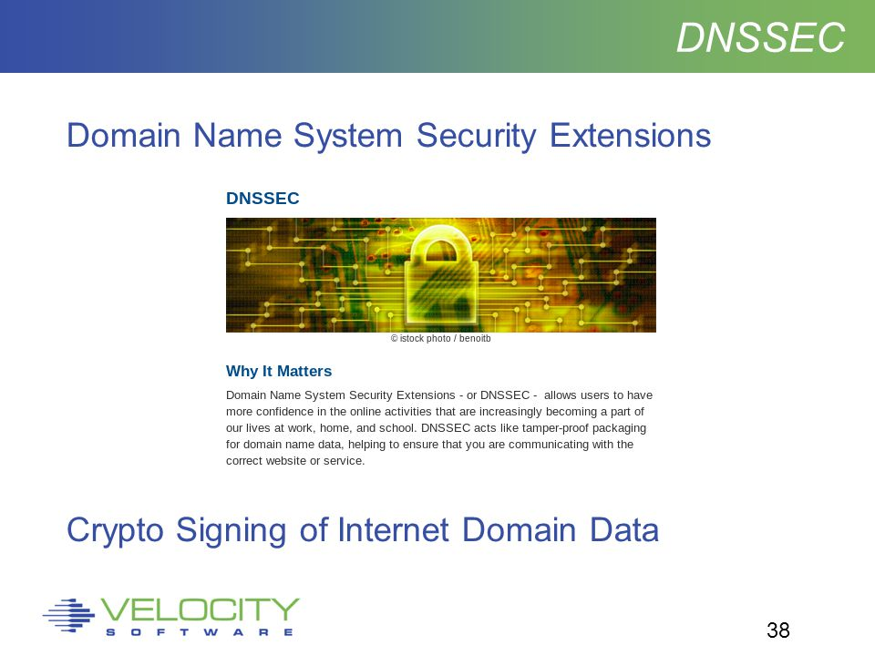 38 DNSSEC Domain Name System Security Extensions Crypto Signing of Internet Domain Data