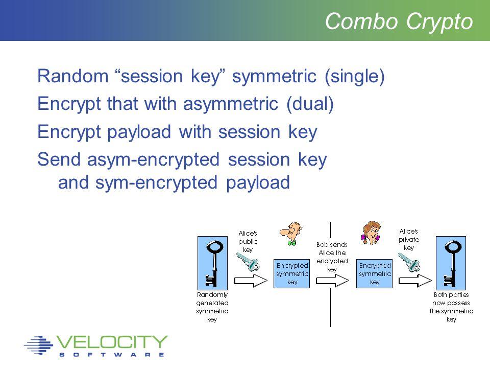 Combo Crypto Random session key symmetric (single) Encrypt that with asymmetric (dual) Encrypt payload with session key Send asym-encrypted session key and sym-encrypted payload