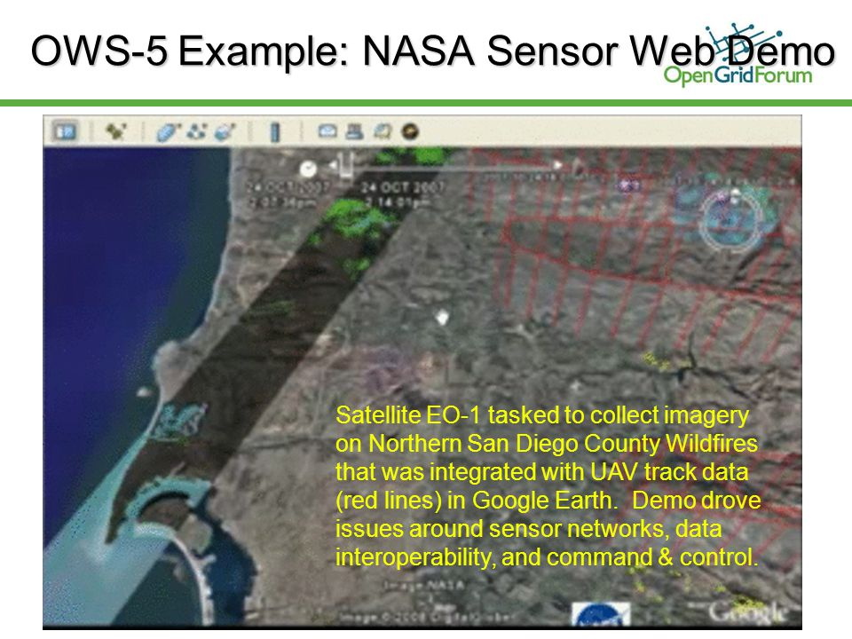 © 2006 Open Grid Forum 9 OWS-5 Example: NASA Sensor Web Demo Satellite EO-1 tasked to collect imagery on Northern San Diego County Wildfires that was integrated with UAV track data (red lines) in Google Earth.