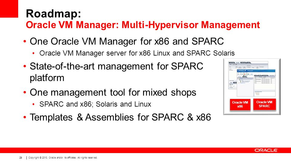 Copyright © 2013, Oracle and/or its affiliates. All rights reserved. 29 Roadmap: One Oracle VM Manager for x86 and SPARC Oracle VM Manager server for