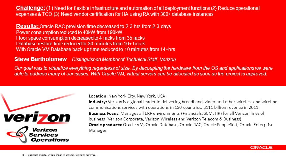 43 Copyright © 2013, Oracle and/or its affiliates. All rights reserved. Challenge: (1) Need for flexible infrastructure and automation of all deployme