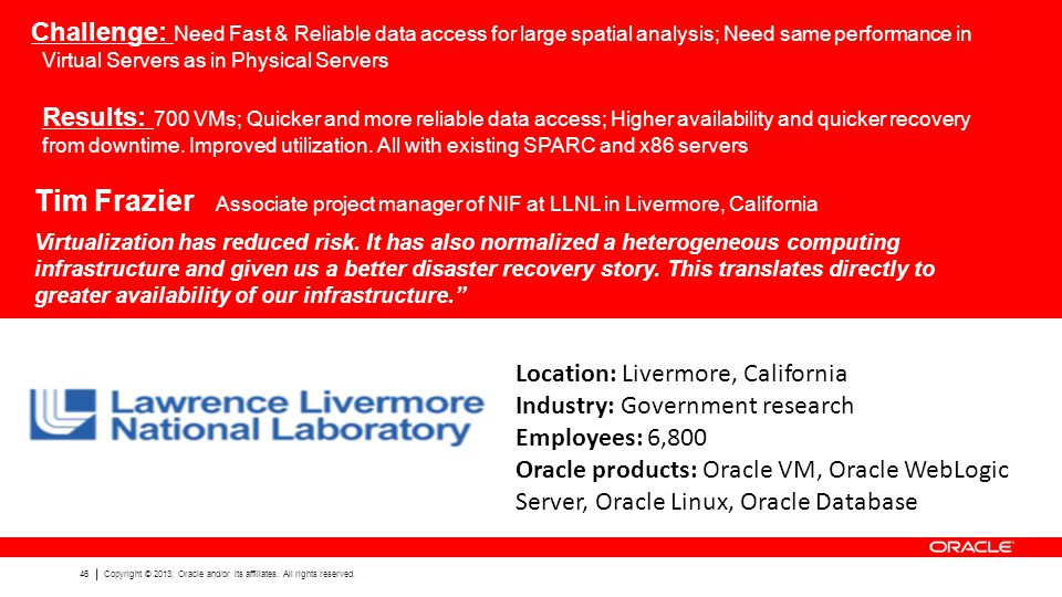 46 Copyright © 2013, Oracle and/or its affiliates. All rights reserved. Challenge: Need Fast & Reliable data access for large spatial analysis; Need s