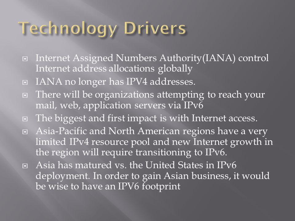  Internet Assigned Numbers Authority(IANA) control Internet address allocations globally  IANA no longer has IPV4 addresses.