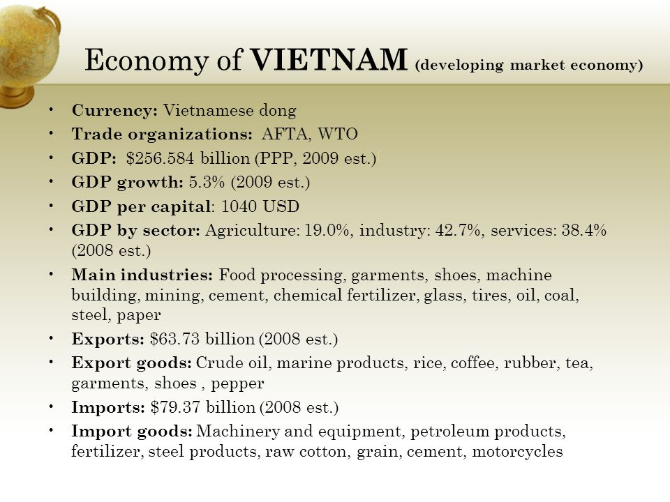 Economy of VIETNAM (developing market economy) Currency: Vietnamese dong Trade organizations: AFTA, WTO GDP: $256.584 billion (PPP, 2009 est.) [ [ GDP