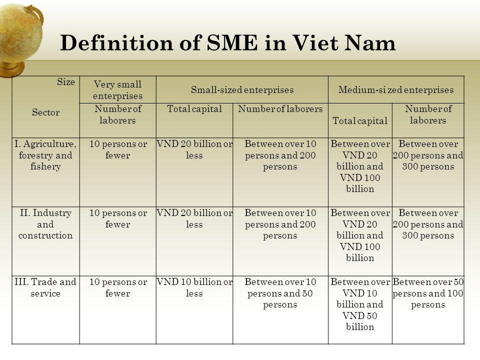 SME in Viet Nam 500.000 unit (2010); 96% Vietnam's Enterprises 50% Vietnam's GDP 50,13% Vietnam's job Major challenging: Finance, technological capability and technical level, plan