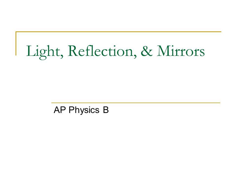 Light, Reflection, & Mirrors AP Physics B