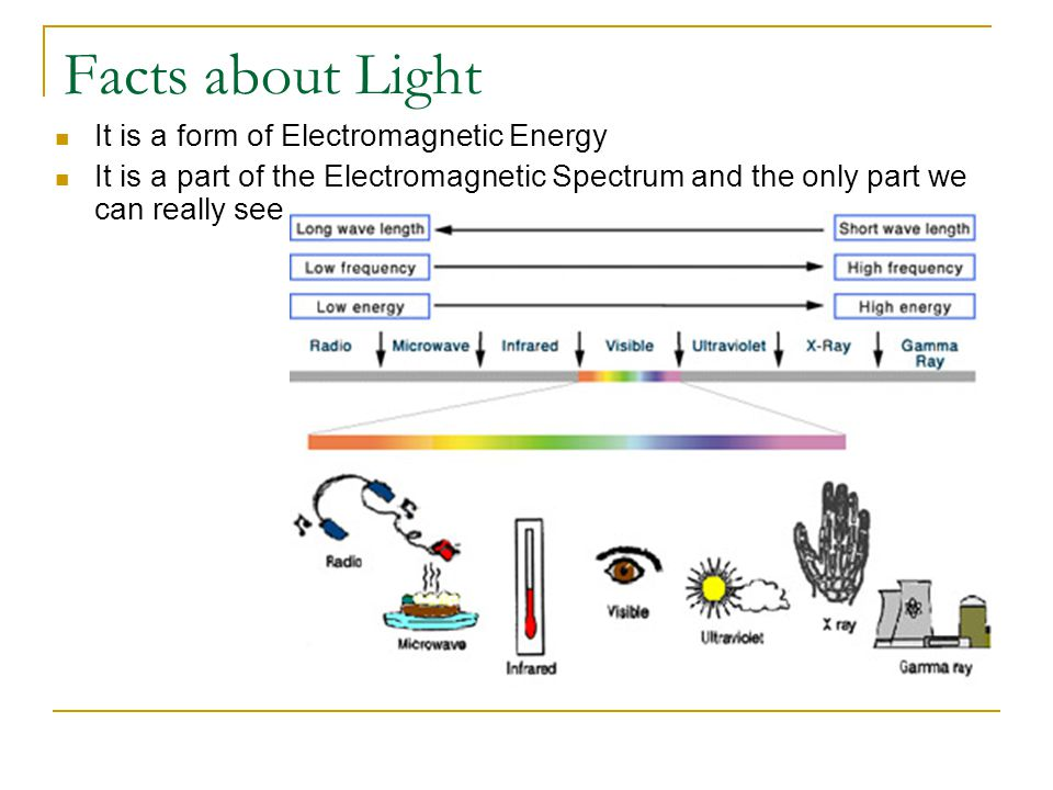 Facts about Light It is a form of Electromagnetic Energy It is a part of the Electromagnetic Spectrum and the only part we can really see