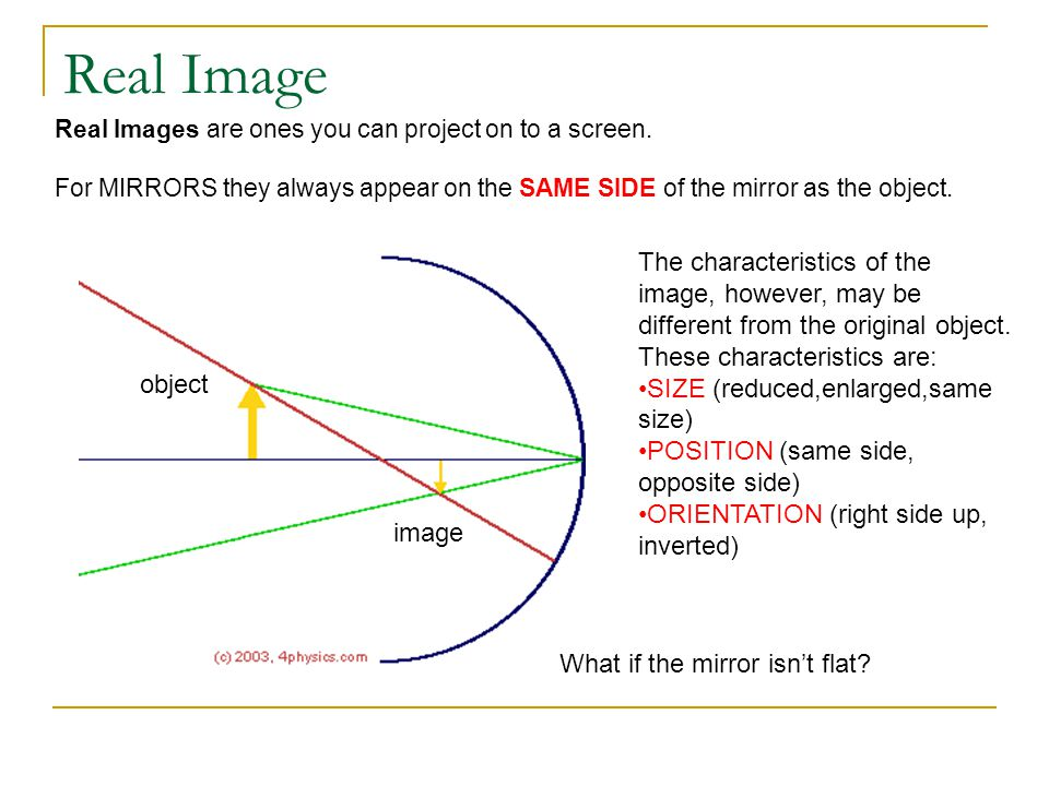 Spherical Mirrors – Concave & Convex Also called CONVERGING mirror Also called DIVERGING mirror