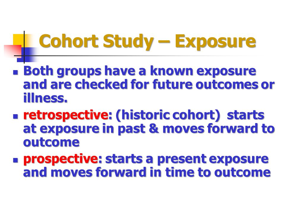 Cohort Study – Exposure Both groups have a known exposure and are checked for future outcomes or illness.