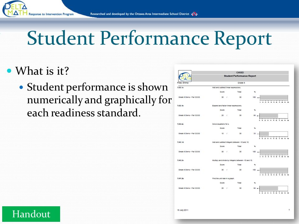 What is it? Student performance is shown numerically and graphically for each readiness standard. Student Performance Report Handout