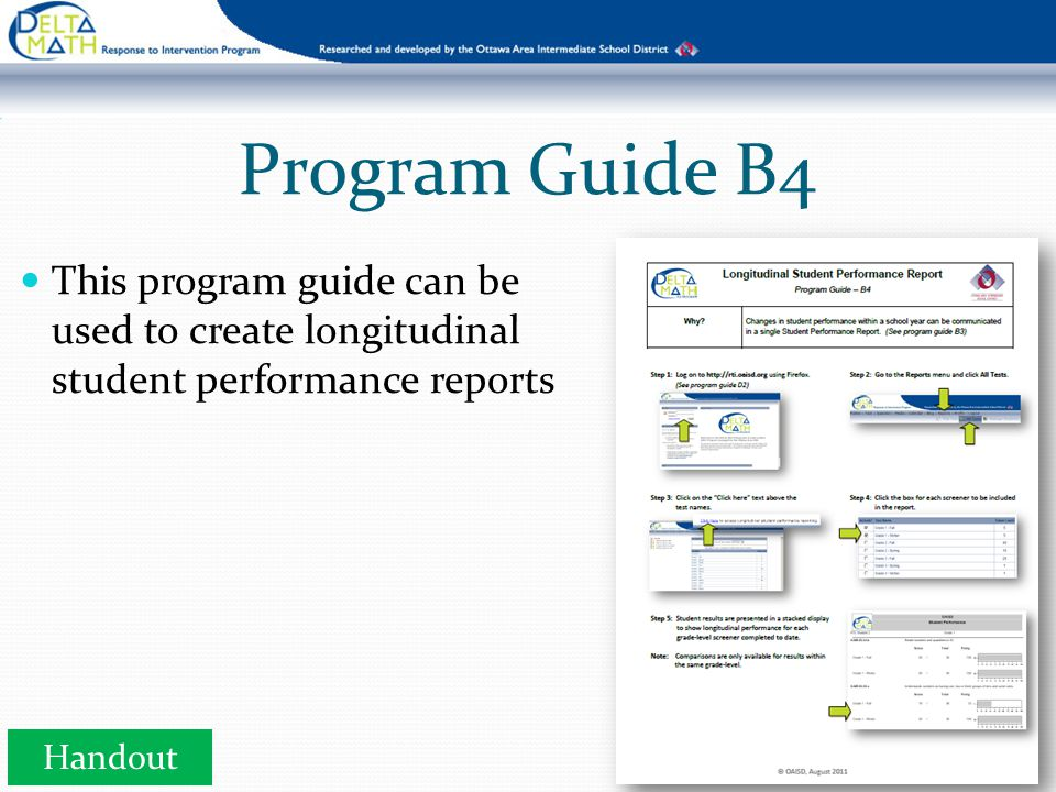 Program Guide B4 This program guide can be used to create longitudinal student performance reports Handout