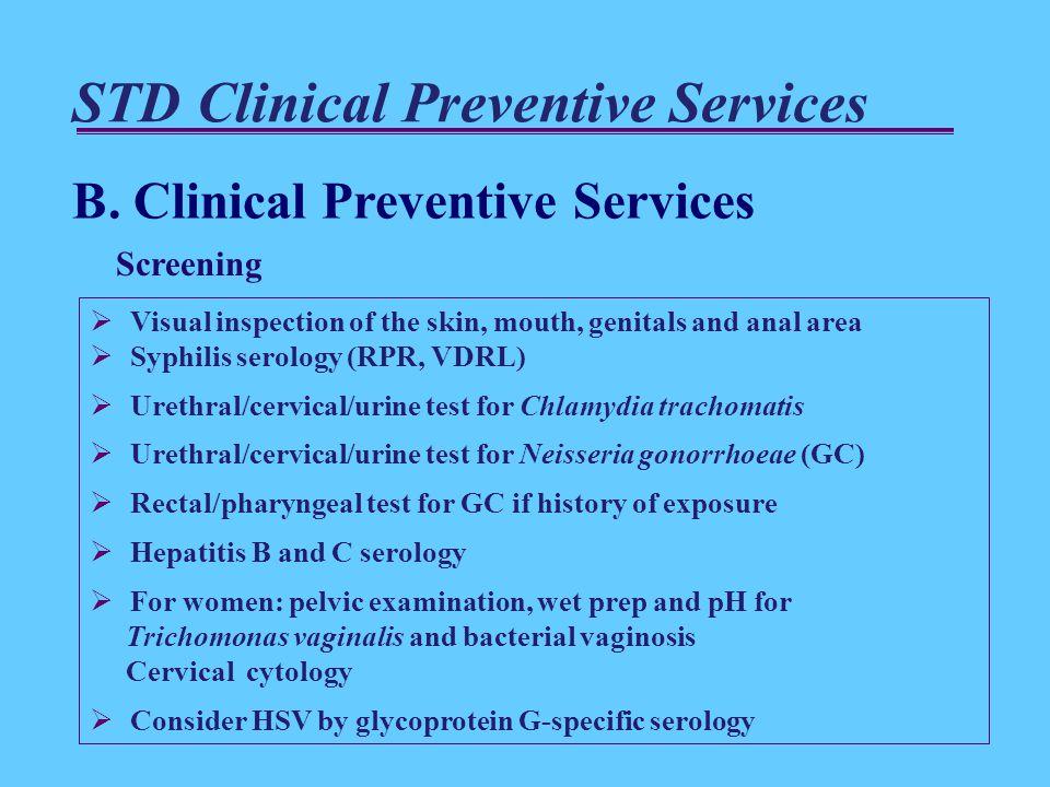 STD Clinical Preventive Services B.