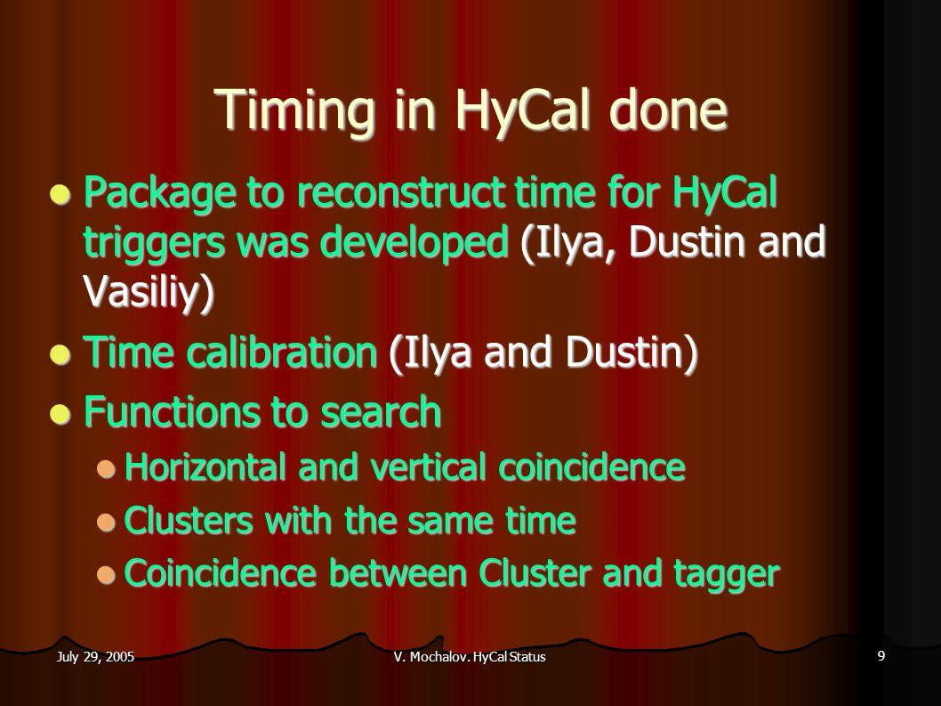 V. Mochalov. HyCal Status 20 July 29, 2005 Energy and mass constraint methods (Ilya)