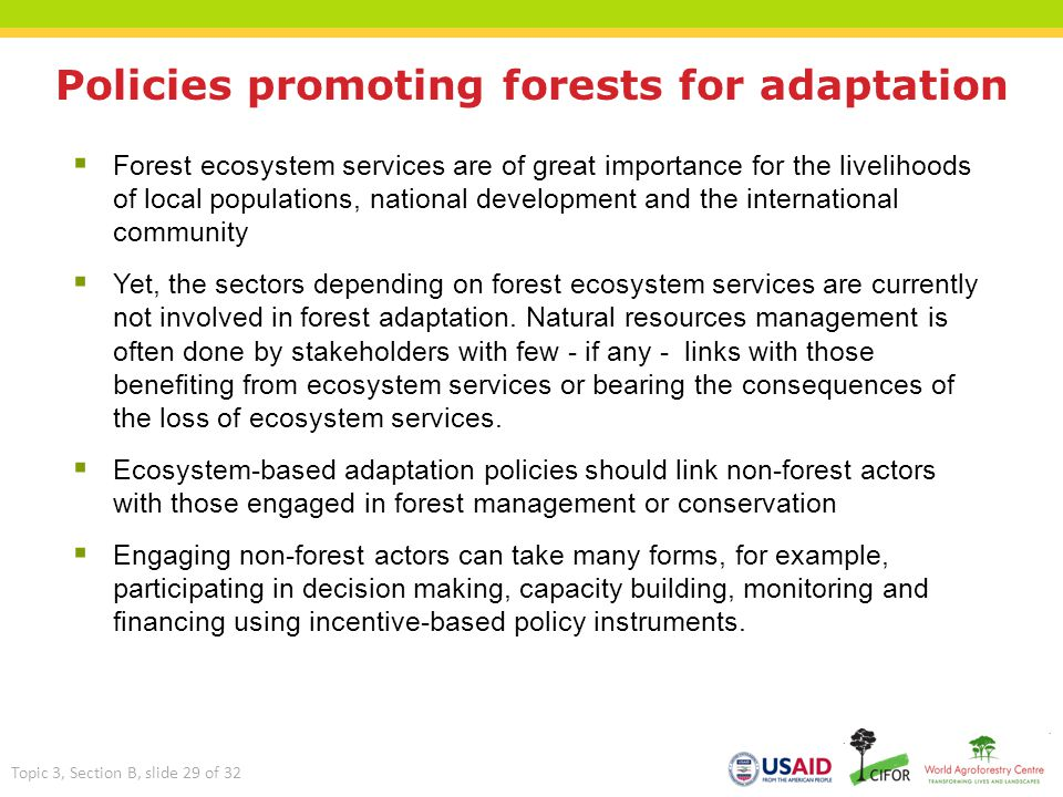 Policies promoting forests for adaptation  Forest ecosystem services are of great importance for the livelihoods of local populations, national devel