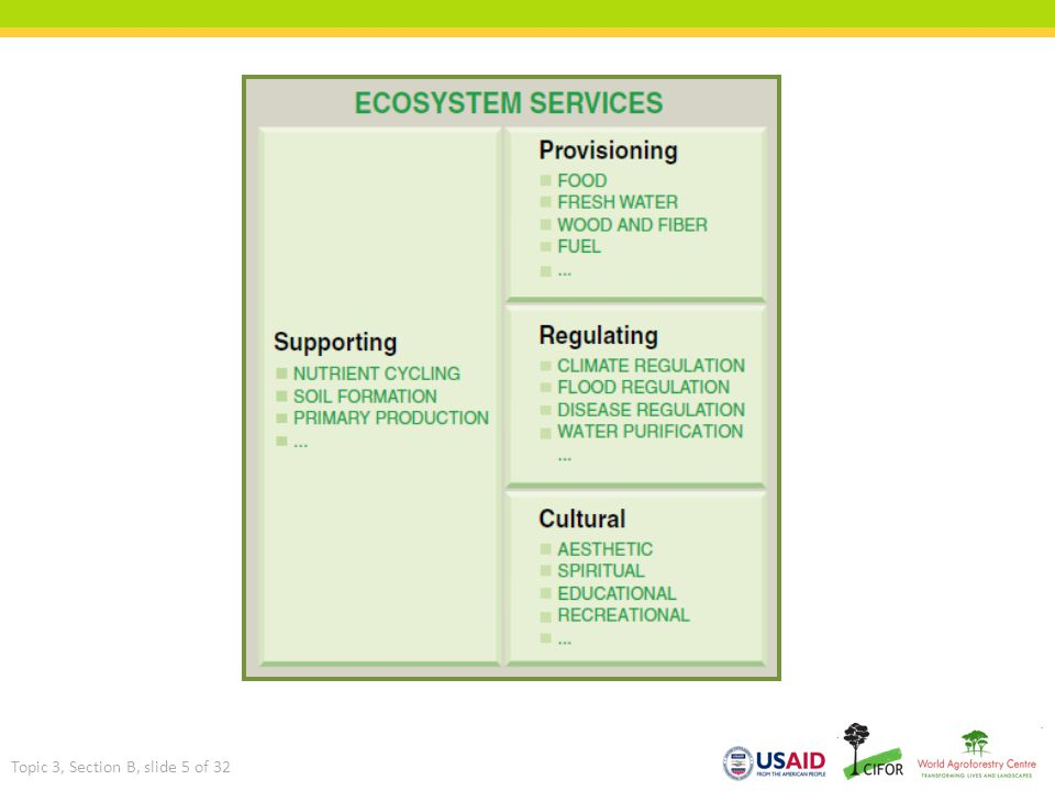 Ecosystem services Topic 3, Section B, slide 5 of 32