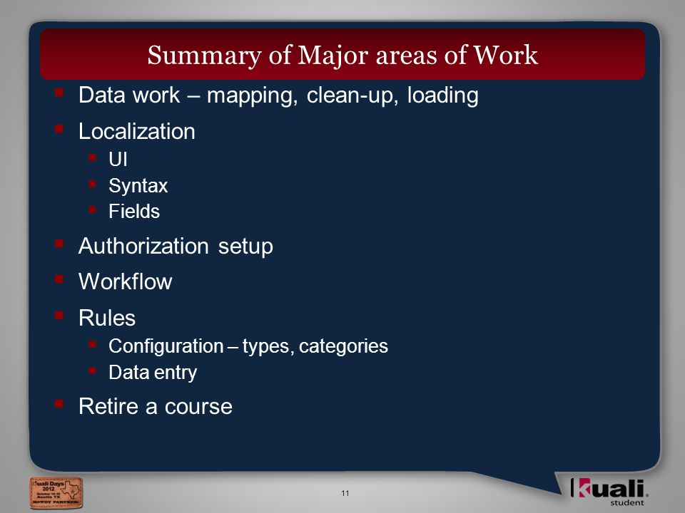 11  Data work – mapping, clean-up, loading  Localization  UI  Syntax  Fields  Authorization setup  Workflow  Rules  Configuration – types, categories  Data entry  Retire a course Summary of Major areas of Work