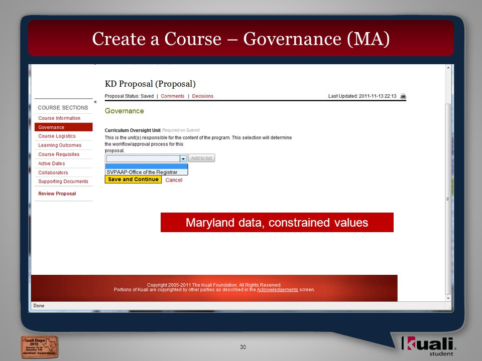 30 Create a Course – Governance (MA) Maryland data, constrained values