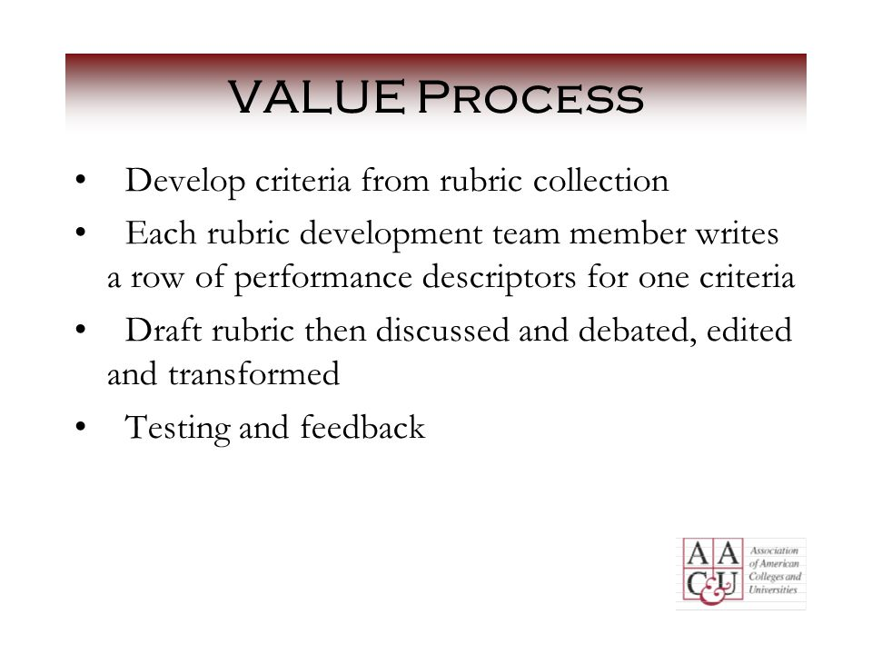 VALUE Process Develop criteria from rubric collection Each rubric development team member writes a row of performance descriptors for one criteria Draft rubric then discussed and debated, edited and transformed Testing and feedback