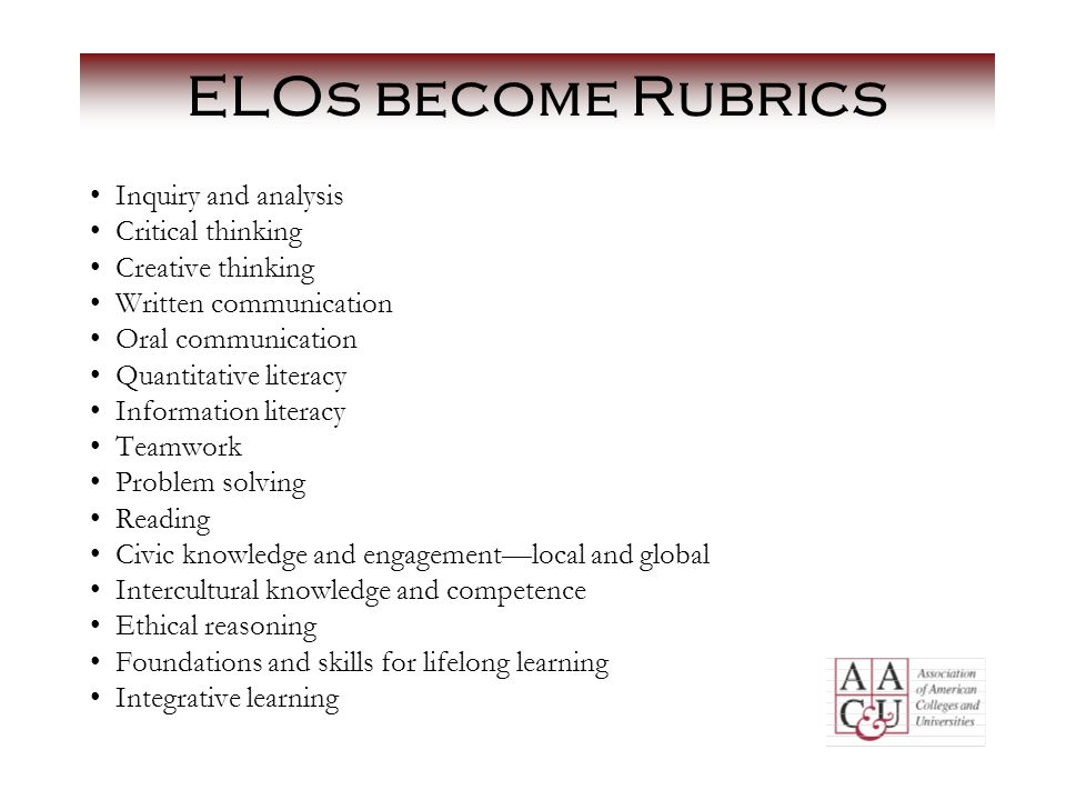 ELOs become Rubrics Inquiry and analysis Critical thinking Creative thinking Written communication Oral communication Quantitative literacy Information literacy Teamwork Problem solving Reading Civic knowledge and engagement—local and global Intercultural knowledge and competence Ethical reasoning Foundations and skills for lifelong learning Integrative learning