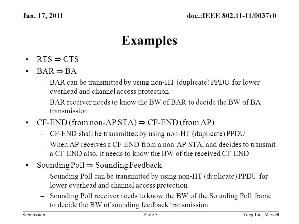 doc.:IEEE 802.11-11/0037r0 Submission Jan.