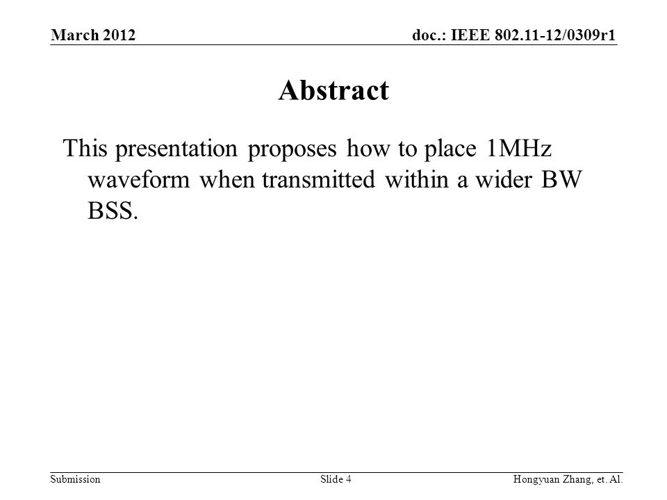 doc.: IEEE 802.11-12/0309r1 SubmissionHongyuan Zhang, et.