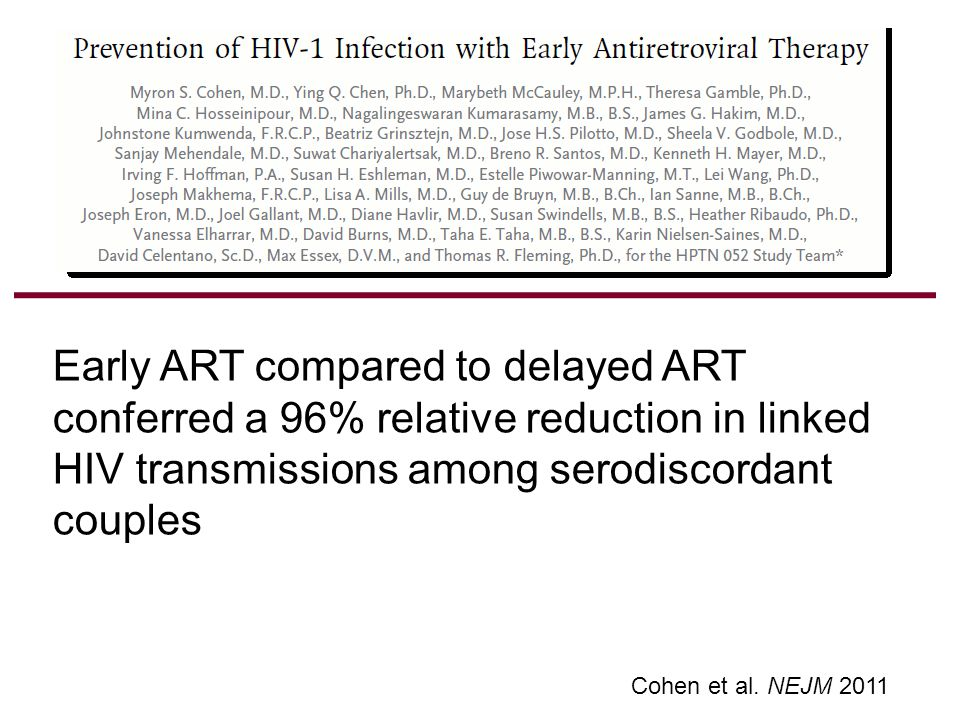 Early ART Delayed ART No ART Results: Transmission Rates, Lifetime, South Africa