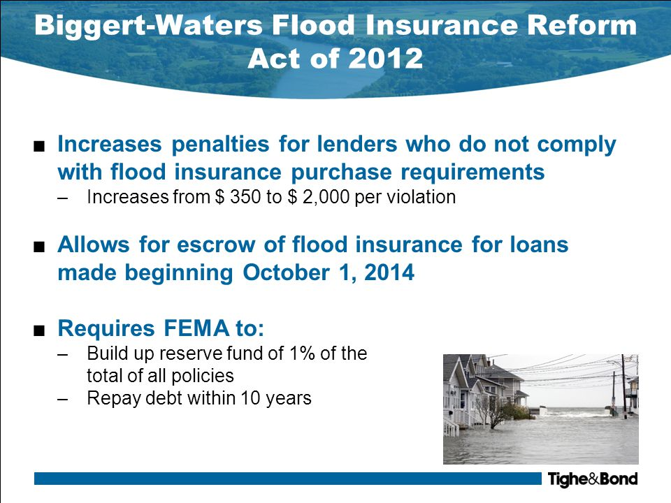 Biggert-Waters Flood Insurance Reform Act of 2012 ■Authorizes $400 million annually for mapping ■Removes restriction that states may only contribute 50 percent of mapping costs ■Requires lenders disclose availability of flood insurance under NFIP to all borrowers