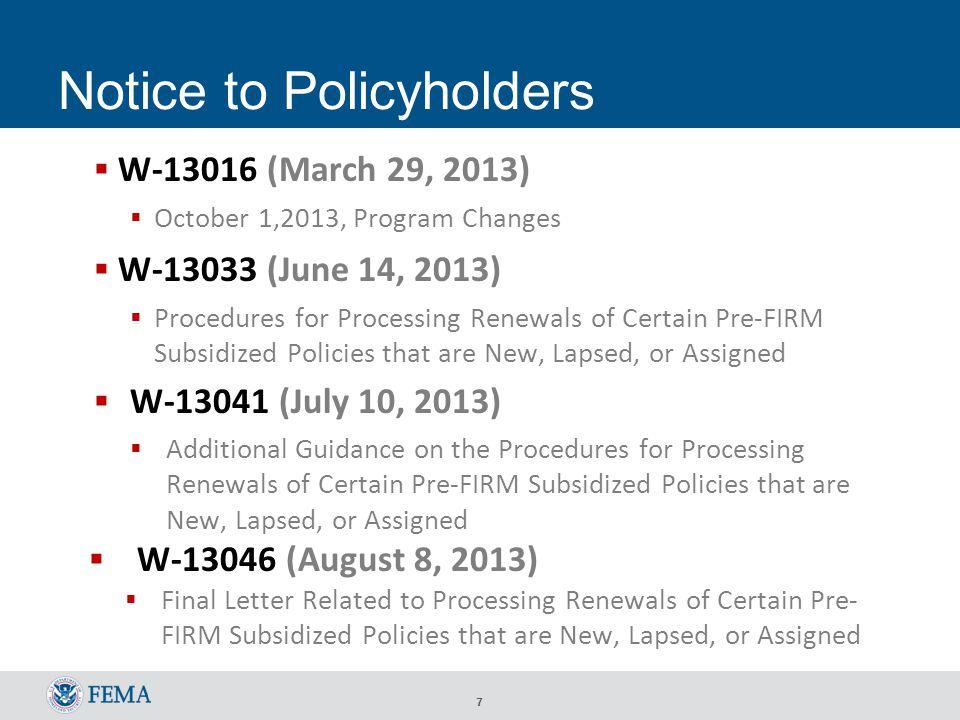 8 W-13041 http://www.nfipiservice.com/Stakeholder/pdf/bulletin/w-13041.pdf