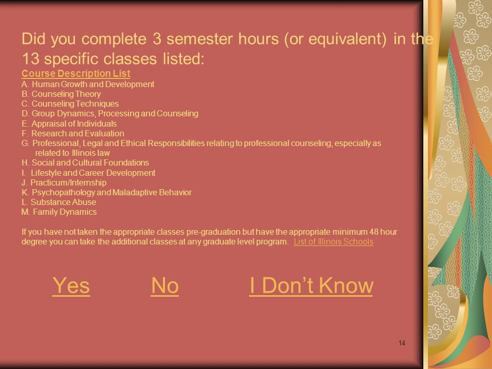14 Did you complete 3 semester hours (or equivalent) in the 13 specific classes listed: Course Description List A. Human Growth and Development B. Cou