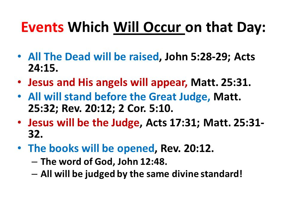 Events Which Will Occur (con't) Each person will give account to God, Rom.