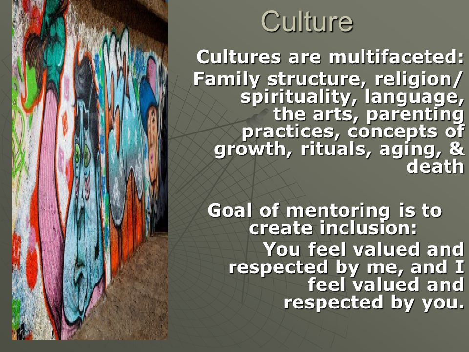 Culture Cultures are multifaceted: Family structure, religion/ spirituality, language, the arts, parenting practices, concepts of growth, rituals, aging, & death Goal of mentoring is to create inclusion: You feel valued and respected by me, and I feel valued and respected by you.