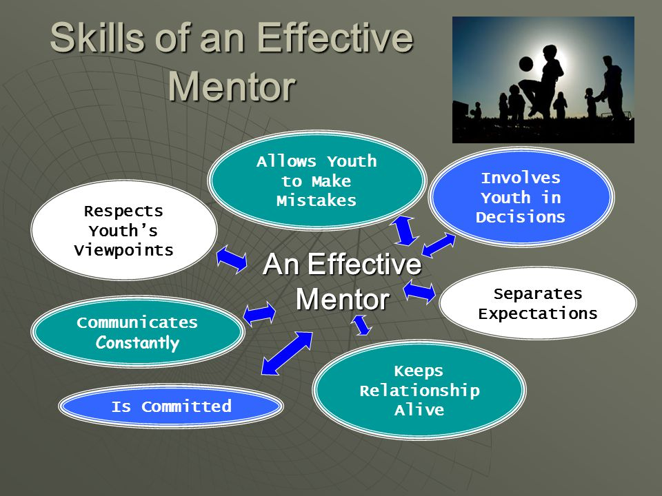 Skills of an Effective Mentor Keeps Relationship Alive Involves Youth in Decisions Respects Youth's Viewpoints Communicates Constantly Allows Youth to Make Mistakes An Effective Mentor Is Committed Separates Expectations